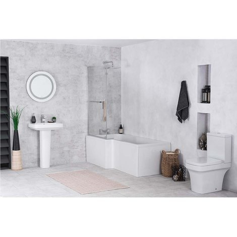 Avola Bathroom Suite with Left Hand L Shape Shower Bath