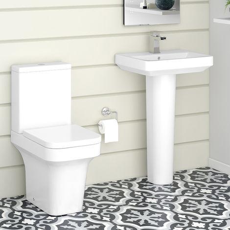 Avola Close Coupled Toilet & Basin Cloakroom Suite