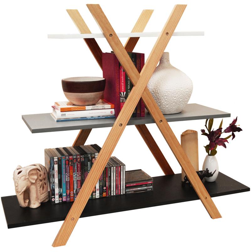 Cross X Frame Storage Shelf Bookcase