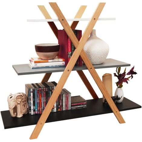 AVONE - Retro 3 Tier Wood Cross X Frame Storage Shelf Bookcase - White / Grey / Black