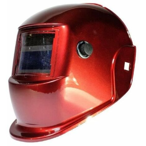 AWELCO Cagoule de soudure LCD rouge a teinte variable 9/13 - adaptée au soudage MAG MIG MMA PLASMA et TIG