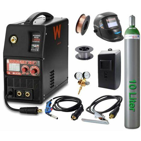 Awelco Inverter Schutzgas Schweißgerät Mikromig 1800 EURO + Zubehör 4 tlg.