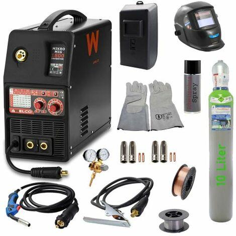 Awelco Inverter Schutzgas Schweißgerät Mikromig 1800 EURO + Zubehör 8 tlg.