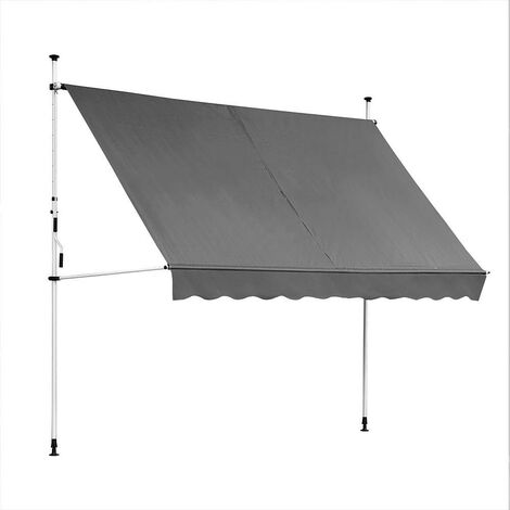 Awning - 300 x 120 cm - gray with LED