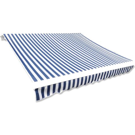 Awning Top Sunshade Canvas Blue & White 350x250 cm