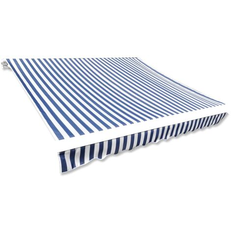 Awning Top Sunshade Canvas Blue & White 450x300 cm