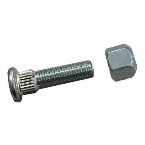 Axe de roue + Ecrou M10 L:35 Plat 17