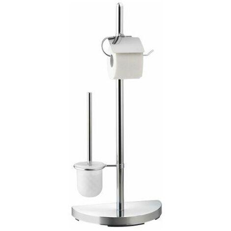 Axentia 282252 Serviteur WC Lianos avec socle en demi-lune, dérouleur de papier WC et pied en métal 76cm (Chrome)