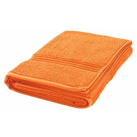 axentia Serviette de Serviettes pour Douche, la Plage et Salle de Bain Serviette de Plage Serviette de Serviette de Sauna en Coton de Grand Serviette Sport, Plastique, Orange, 70 x 140 x 0,4 cm