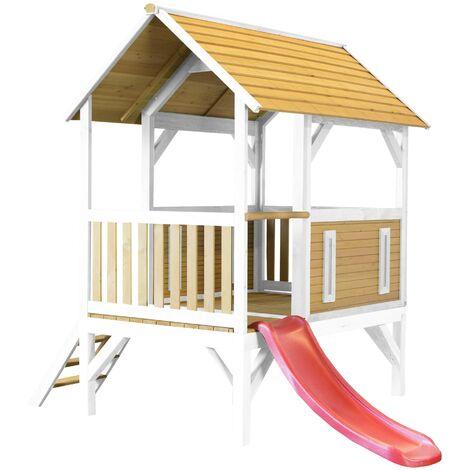 AXI Akela Maison Enfant avec Toboggan Rouge | Aire de Jeux pour l'extérieur en marron & blanc | Maisonnette / Cabane de Jeu en Bois FSC