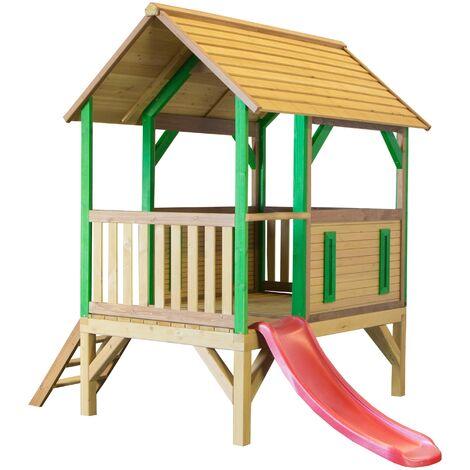 AXI Akela Maison Enfant avec Toboggan rouge | Aire de Jeux pour l'extérieur en marron & vert | Maisonnette / Cabane de Jeu en Bois FSC