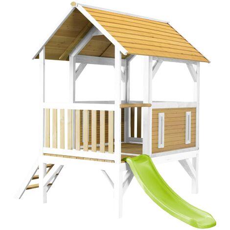 AXI Akela Maison Enfant avec Toboggan Vert clair | Aire de Jeux pour l'extérieur en marron & blanc | Maisonnette / Cabane de Jeu en Bois FSC