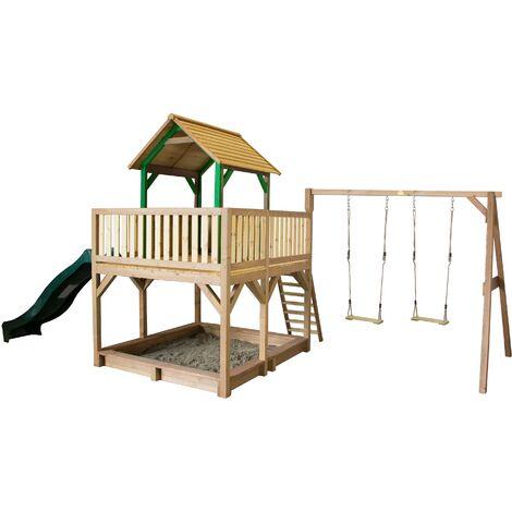 AXI Atka Maison Enfant avec Bac à Sable, Balançoire 2 Agrès & Toboggan vert   Aire de Jeux pour l'extérieur en marron & vert   Maisonnette / Cabane de Jeu en Bois FSC