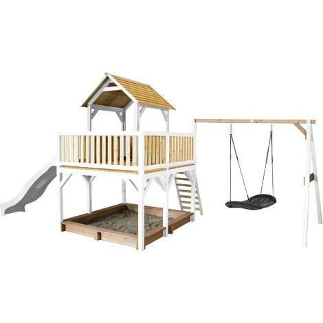 AXI Atka Maison Enfant avec Bac à Sable, Balançoire Nid d'Oiseau Noir & Toboggan Blanc | Aire de Jeux pour l'extérieur en marron & blanc | Maisonnette / Cabane de Jeu en Bois FSC