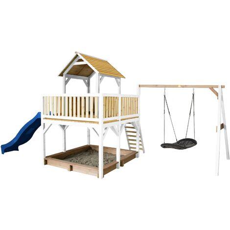 AXI Atka Maison Enfant avec Bac à Sable, Balançoire Nid d'Oiseau Noir & Toboggan Bleu | Aire de Jeux pour l'extérieur en marron & blanc | Maisonnette / Cabane de Jeu en Bois FSC