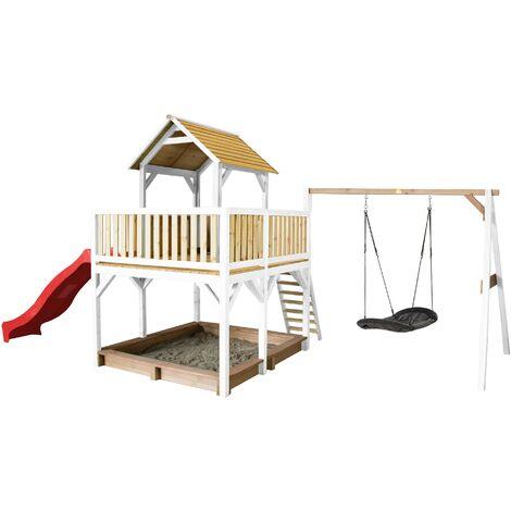 AXI Atka Maison Enfant avec Bac à Sable, Balançoire Nid d'Oiseau Noir & Toboggan Rouge | Aire de Jeux pour l'extérieur en marron & blanc | Maisonnette / Cabane de Jeu en Bois FSC