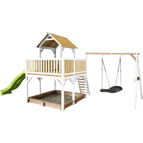 AXI Atka Maison Enfant avec Bac à Sable, Balançoire Nid d'Oiseau Noir & Toboggan Vert clair | Aire de Jeux pour l'extérieur en marron & blanc | Maisonnette / Cabane de Jeu en Bois FSC