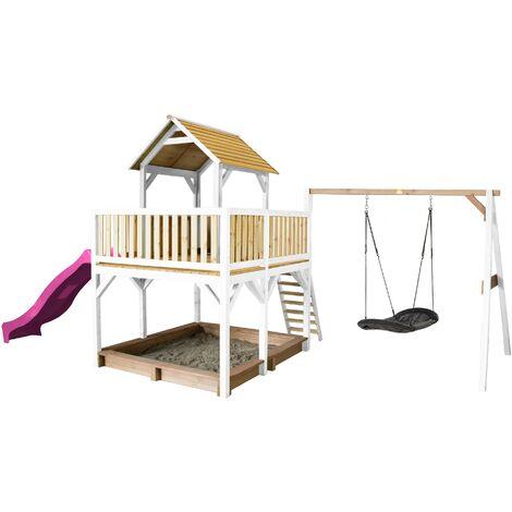 AXI Atka Maison Enfant avec Bac à Sable, Balançoire Nid d'Oiseau Noir & Toboggan Violet | Aire de Jeux pour l'extérieur en marron & blanc | Maisonnette / Cabane de Jeu en Bois FSC
