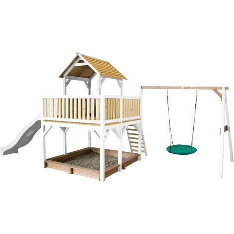 AXI Atka Maison Enfant avec Bac à Sable, Balançoire Nid d'Oiseau Vert & Toboggan Blanc | Aire de Jeux pour l'extérieur en marron & blanc | Maisonnette / Cabane de Jeu en Bois FSC