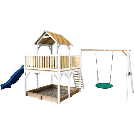 AXI Atka Maison Enfant avec Bac à Sable, Balançoire Nid d'Oiseau Vert & Toboggan Bleu | Aire de Jeux pour l'extérieur en marron & blanc | Maisonnette / Cabane de Jeu en Bois FSC