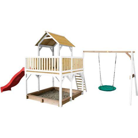AXI Atka Maison Enfant avec Bac à Sable, Balançoire Nid d'Oiseau Vert & Toboggan Rouge | Aire de Jeux pour l'extérieur en marron & blanc | Maisonnette / Cabane de Jeu en Bois FSC