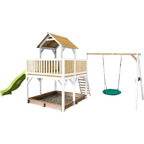 AXI Atka Maison Enfant avec Bac à Sable, Balançoire Nid d'Oiseau Vert & Toboggan Vert clair | Aire de Jeux pour l'extérieur en marron & blanc | Maisonnette / Cabane de Jeu en Bois FSC