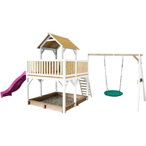 AXI Atka Maison Enfant avec Bac à Sable, Balançoire Nid d'Oiseau Vert & Toboggan Violet | Aire de Jeux pour l'extérieur en marron & blanc | Maisonnette / Cabane de Jeu en Bois FSC