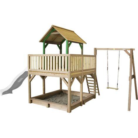 AXI Atka Maison Enfant avec Bac à Sable, Balançoire & Toboggan Blanc   Aire de Jeux pour l'extérieur en marron & vert   Maisonnette / Cabane de Jeu en Bois FSC