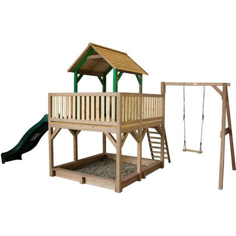 AXI Atka Maison Enfant avec Bac à Sable, Balançoire & Toboggan vert   Aire de Jeux pour l'extérieur en marron & vert   Maisonnette / Cabane de Jeu en Bois FSC
