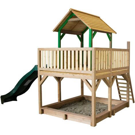 AXI Atka Maison Enfant avec Bac à Sable & Toboggan vert | Aire de Jeux pour l'extérieur en marron & vert | Maisonnette / Cabane de Jeu en Bois FSC