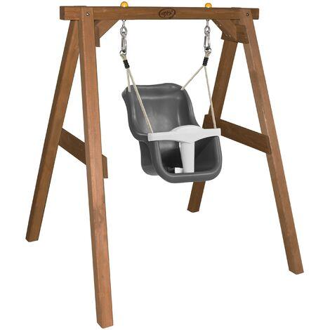 AXI Balançoire pour bébé avec cadre en bois brun pour le jardin | Balançoire d'extérieur pour les bébés | Pour les enfants à partir de 9 mois | Siège de balançoire en gris et blanc