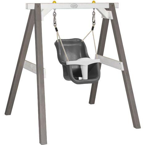 AXI Balançoire pour bébé avec cadre en bois gris & blanc pour le jardin | Balançoire d'extérieur pour les bébés | Pour les enfants à partir de 9 mois | Siège de balançoire en gris et blanc