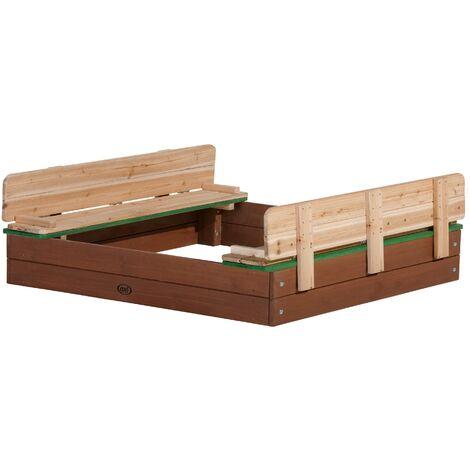AXI Ella XL Bac à Sable Enfant | Bac à Sable pour Enfants en Bois avec Couvercle marron & vert | 120 x 120 cm