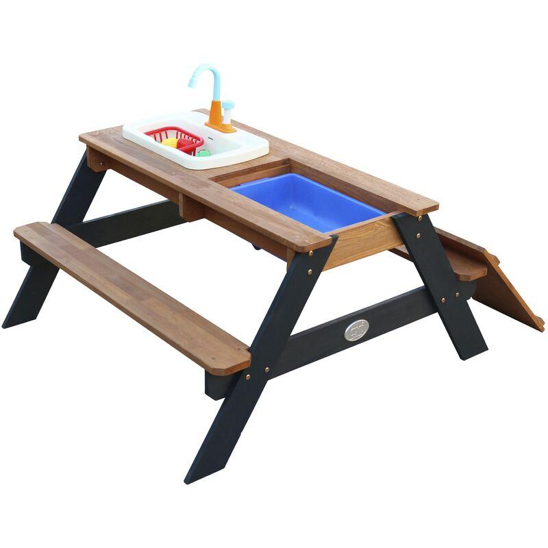 AXI Emily Table Sable et Eau en Bois Anthracite & Marron   Table d'eau avec couvercle, boîtes de rangement & jeu évier de cuisine   Table de Jeu
