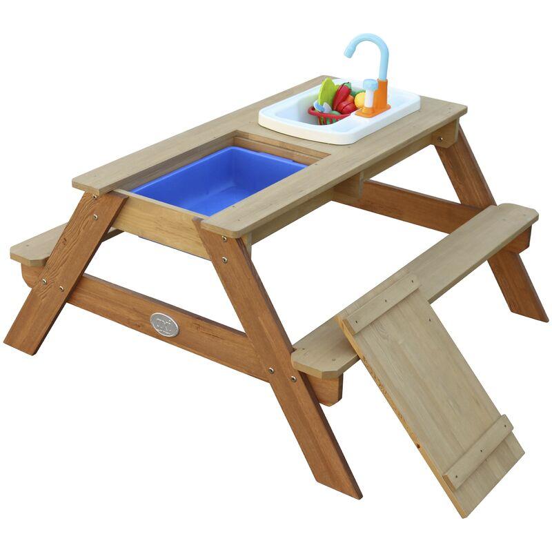 AXI Emily Table Sable et Eau en Bois Marron   Table d'eau avec couvercle, boîtes de rangement & jeu évier de cuisine   Table de Jeu Enfant à Eau pour
