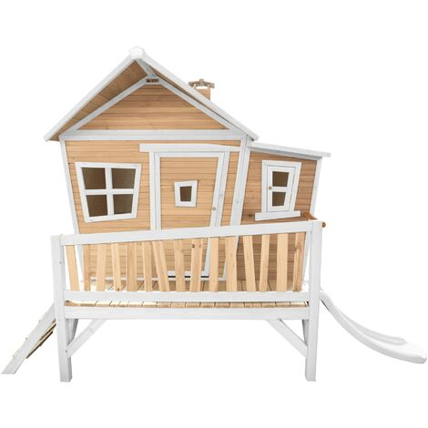 AXI Emma Maison Enfant avec Toboggan Blanc | Aire de Jeux pour l'extérieur en marron & blanc | Maisonnette / Cabane de Jeu en Bois FSC