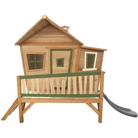 AXI Emma Maison Enfant avec Toboggan Gris | Aire de Jeux pour l'extérieur en Marron & Vert | Maisonnette / Cabane de Jeu en Bois FSC