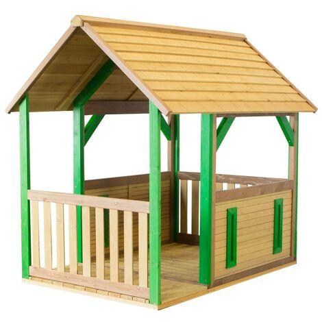 AXI Forest Maison Enfant en Bois FSC | Maison de Jeux pour l'extérieur / Jardin en marron & vert | Maisonnette / Cabane de Jeu avec Véranda