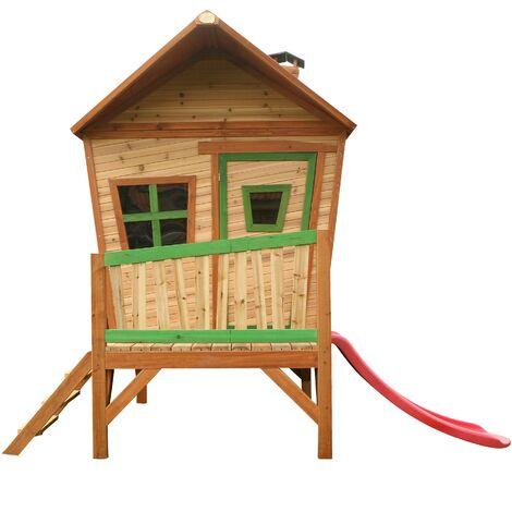 AXI Iris Maison Enfant avec Toboggan rouge   Aire de Jeux pour l'extérieur en marron & vert   Maisonnette / Cabane de Jeu en Bois FSC