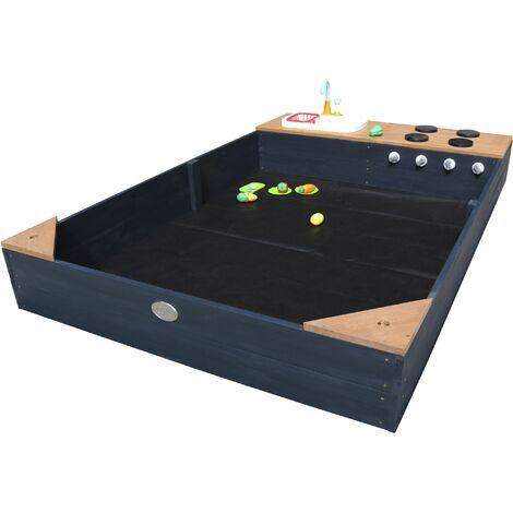 AXI Kelly bac à sable en bois avec banc et jeux de cuisine avec évier | Bac à sable pour enfants en anthracite et brun | 180 x 115 cm