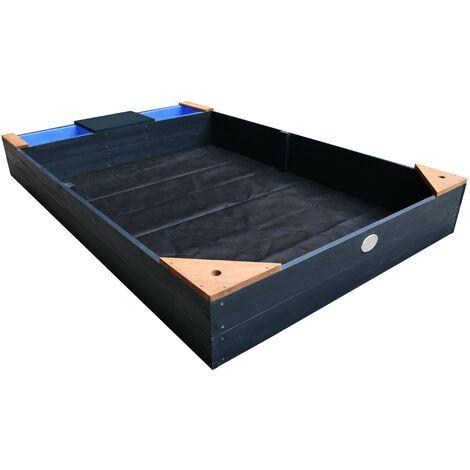 AXI Kelly bac à sable en bois avec banc et récipients pour l'eau | Bac à sable pour enfants en anthracite et brun | 180 x 115 cm