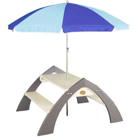 AXI Kylo Table Pique Nique Enfant en Bois gris & blanc | Table Picnic avec Parasol pour le jardin