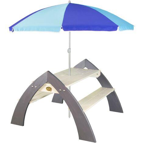 AXI Kylo XL Table Pique Nique Enfant en Bois gris & blanc | Table Picnic avec Parasol pour le jardin