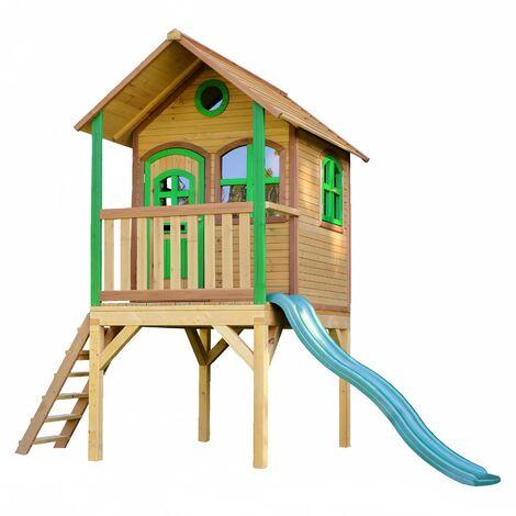 AXI Laura Maison Enfant avec Toboggan vert   Aire de Jeux pour l'extérieur en marron & vert   Maisonnette / Cabane de Jeu en Bois FSC