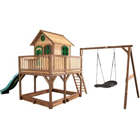 AXI Liam Maison Enfant avec Bac à Sable, Balançoire Nid d'Oiseau noir & Toboggan vert | Aire de Jeux pour l'extérieur en marron & vert | Maisonnette / Cabane de Jeu en Bois FSC