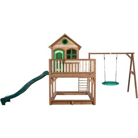 AXI Liam Maison Enfant avec Bac à Sable, Balançoire Nid d'Oiseau vert & Toboggan vert | Aire de Jeux pour l'extérieur en marron & vert | Maisonnette / Cabane de Jeu en Bois FSC
