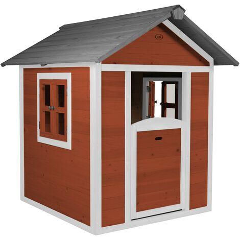 AXI Maison Enfant Beach Lodge en Rouge | Maison de Jeux en Bois FFC pour Les Enfants | Maisonnette / Cabane de Jeu pour Le Jardin
