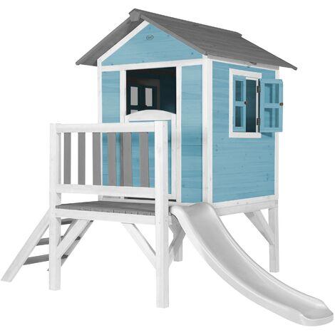 """main image of """"AXI Maison Enfant Beach Lodge XL en Bleu avec Toboggan en Blanc   Maison de Jeux en bois FFC pour les enfants   Maisonnette / Cabane de jeu pour le jardin"""""""