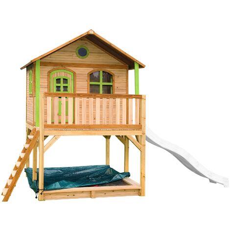 AXI Marc Maison Enfant avec Bac à Sable & Toboggan Blanc | Aire de Jeux pour l'extérieur en marron & vert | Maisonnette / Cabane de Jeu en Bois FSC