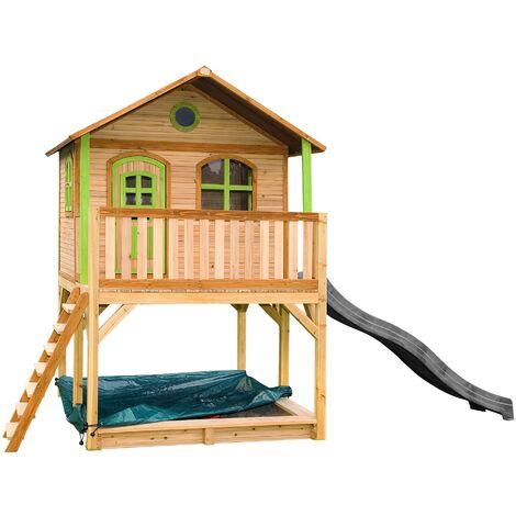 AXI Marc Maison Enfant avec Bac à Sable & Toboggan gris | Aire de Jeux pour l'extérieur en marron & vert | Maisonnette / Cabane de Jeu en Bois FSC